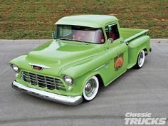 Built NOT bought! - Is this 1955 #Chevrolet 3100 sweet or juicy? - Read All About This #HomeGrown Classic Truck Here: http://www.classictrucks.com/features/1304clt_1955_chevrolet_3100/