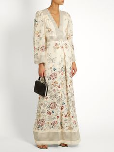 Amelie floral and square-print silk gown   Vilshenko   MATCHESFASHION.COM
