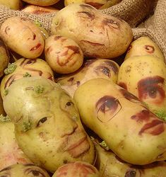 """""""Potato Portraits""""....Ginou Chiueiri released her artwork about 3 years ago. We wanted to show again what she does on potatoes. How she says, she draws on potatoes because our faces are very similar to them in color, skin and same as we do, they born in different forms and measures."""