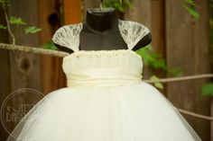 Shabby Chic IVORY Flower Girl Dress with Lace Cap Sleeves Super cute!! $60