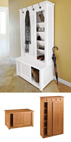 Get the same look by getting stacking in-stock unfinished wall cabinets from Home Depot directly on top of unfinished base cabinets.  Add a bit of trim and paint or stain!  Shoe Storage Cabinet. I love this idea as a built-in in a mudroom. This one is too pricy, and reviews aren't great.
