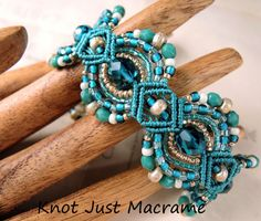Teal Micro Macrame Bracelet Exotic Peacock Colors with a Nouveau Vibe. She also sells a tutorial on her Etsy page.