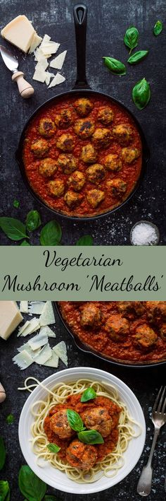 Vegetarian mushroom meatballs - these moist, herby, delicious meatless 'meatballs' taste amazing with tomato sauce and pasta - perfect healthy comfort food! They are easily made too! Mushroom Recipes, Veggie Recipes, Vegetarian Recipes, Healthy Recipes, Simple Recipes, Vegan Vegetarian, Mushroom Meatballs, Vegetarian Meatballs, Veggie Meatballs