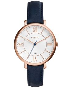 With blue leather and a rosy case, this Jacqueline watch from Fossil brings a bold presence to your look. | Blue leather strap | Round rose gold-tone stainless steel case, 36mm | White textured dial w