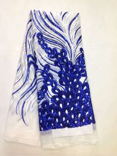 Wholesale Royal blue tulle lace fabrics with sequins for Nigerian wedding Swiss Voile Lace In Switzerland 5yards/pcs X297B
