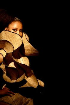 Couture Garment by Lindah Lepou, NZ designer of Samoan heritage, using traditional materials in untraditional ways!