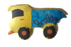 Dump Truck Pillow, Personalized, Custom Construction Truck Plush Pillow, Toddler Plush Toy,