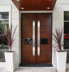Interior Doors Main Door Design Wood Front Doors And Main Door On Modern Entrance Door, Modern Front Door, Double Front Doors, Wood Front Doors, The Doors, House Entrance, Entry Doors, Front Entry, Garage Doors