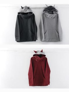 RINA Couple Horn-Accent Hooded Pullover   YESSTYLE
