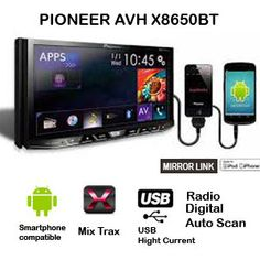 TV Double Din Pioneer AVH X 8650 BT . Built in Android, iOs, App Radio, Mirror Link. Bluetooth A2DP Handfree, CD/ VCD/ DVD/ MP3/ USB. Hight Defition pixel, Radio FM/ AM, Mix Trax Dee jay.