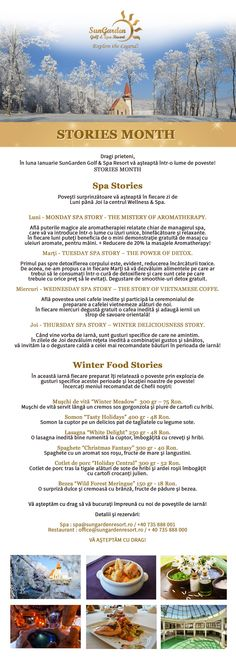Newsletter stories month Winter Food, Resort Spa, New Years Eve, Celebrations, Relax, Explore, Exploring