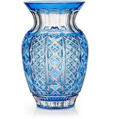 """Waterford Gifts, Fleurology Molly Cased Bouquet Vase 12"""" ($950) ❤ liked on Polyvore featuring home, home decor, vases, blue, props, deco, decor, colored vases, blue crystal vase and blue vase"""