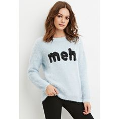 Forever 21 Women's  Meh Graphic Fuzzy Sweater (655 UAH) ❤ liked on Polyvore featuring tops, sweaters, forever 21, forever 21 sweaters, full length sweater, graphic tops and graphic sweaters
