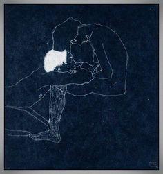 """Egon Schiele  """"Les amants""""  1909"""