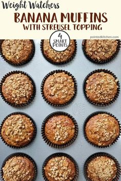 Banana Muffins with their deliciously sweet crunchy streusel topping are just 4 Smart Points per serving on Weight Watchers Freestyle plan. Easy to make and store these low point WW treats will soon become a family favourite. Dessert Weight Watchers, Weight Watchers Muffins, Weight Watchers Breakfast, Weight Watchers Chicken, Weight Watchers Meals, Stomach Fat Burning Foods, Healthy Banana Muffins, Sugar Free Pudding, Streusel Topping