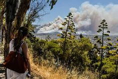 A woman looks at smoke billowing over Athens. Greek firefighters battled large brush and forest fires on the outskirts of Athens and in the southern Peloponnese region.