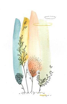 miniforet. Watercolor plants