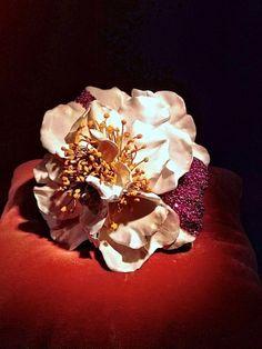 Jewelry as art, or vice versa Joel A. Rosenthal Camelia bracelet: enamel, rubies, silver and gold Jar Jewelry, Weird Jewelry, Enamel Jewelry, High Jewelry, Jewelry Art, Jewelery, Gemstone Jewelry, Diamond Flower, My Secret Garden