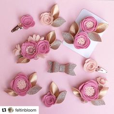 Pop over and check out the gorgeous collection of flower crowns, headbands and clips at ・・・ Oh my gosh! TONIGHT Rose Gold Collection coming to Felt in Bloom Felt Diy, Felt Crafts, Fabric Crafts, Diy Hair Bows, Diy Bow, Felt Headband, Headbands, Felt Flowers, Fabric Flowers