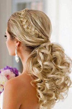 trendy ponytail wedding bridal hairstyles #weddinghairstyles
