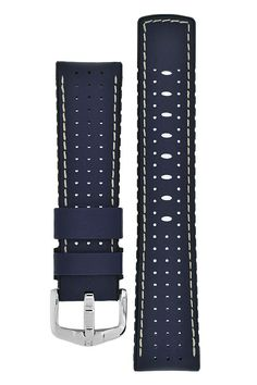 Hirsch TIGER Perforated Leather Performance Watch Strap in BLUE – WatchObsession