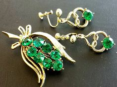 Vintage Emerald Green Rhinestone Brooch by Orange bird of paradise, $59.99