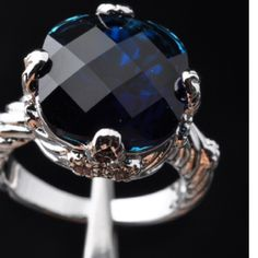 One Only! simulated checkerboard cut sapphire One only size 7 dark blue 5 ctw simulated sapphire in gorgeous your an like checkerboard cut set in alloy bonded to sterling silver. Extremely well made durable silver setting simply gorgeous Sherri Souza Jewelry Jewelry Rings