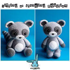 Baby raccoon amigurumi crochet pattern. PDF file. by BlueRabbitLV