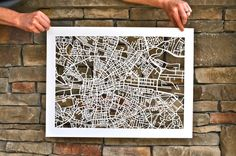 chicago hand cut map 19x24 by StudioKMO on Etsy