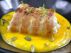 Cod backed with bacon crust and butternut purée - Anna Coombs Hmr Asian Fish Recipes, Recipes With Fish Sauce, Whole30 Fish Recipes, White Fish Recipes, Easy Fish Recipes, Vegetarian Recipes, Kitchen Recipes, Cooking Recipes, Pollock Fish Recipes