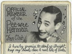 pee-wee fan club card