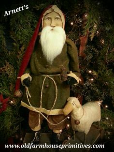 #KC6-13 Arnett's Primitive Santa With Sheep On Wheels (Made In  USA) *NOW IN STOCK*