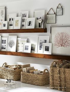 White frames/wood ledge _ Pottery barn