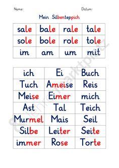 Fünfach differenzierter Silbenteppich zum Lesenüben – Deutsch ...
