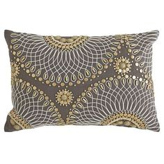 Let your imagination run spiral. With its metallic beading and bold radial patterns, our geo lumbar pillow is certainly eye-catching. Place it boldly and beautifully on a recliner, settee or chaise, or mix and match with any of our solid accent pillows. Groovy geometric design and a great price? That's math we like.