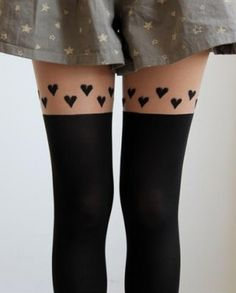 CHIQ | Faux Thigh High Stockings with Hearts jinx me