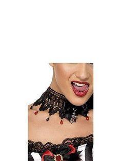 Damen Schwarz & Rotes Spitze Choker-halskette Halloween Hexe Vampir Kostüm