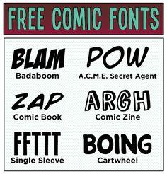 Free comic fonts ~~