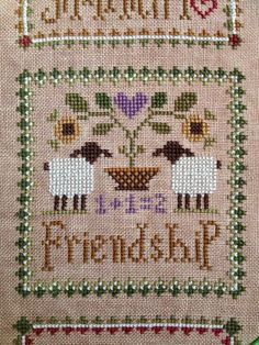 Calico's Whimsy: Little Sheep Virtues Cross Stitch - Friendship