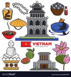 Vietnam travel tourism famous symbols and asian vector image on VectorStock Travel Logo, Travel And Tourism, Pho Bo, Romantic Camping, Bullet Journal Travel, Camping Needs, Travel Illustration, Romantic Dates, In Case Of Emergency