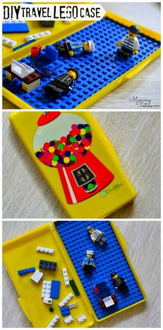 Make an easy stocking stuffer or #DIY gift for kids by upcycling a baby wipes case into a travel Lego case #lego #gift