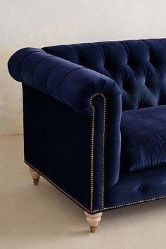 dark blue velvet sofa . Lyre Chesterfield Sofa - anthropologie.com