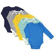 Buy John Lewis Baby Long Sleeve Bodysuits, Pack of 5, Assorted Online at johnlewis.com