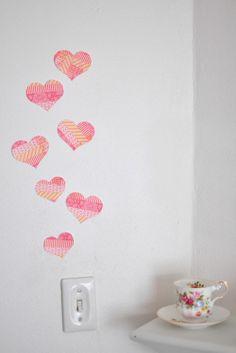 Washitapera: Corazones de washi tape para tu pared