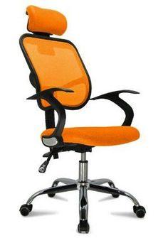 Buy Orange Ergonomic Full Office Mesh Chair with HeadrestAntique Furniture on bdtdc.com