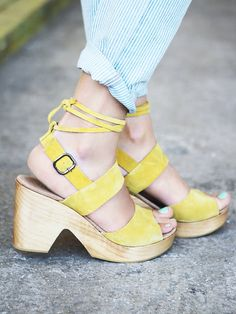 FP Collection Dover Suede Clog at Free People Clothing Boutique #yellow
