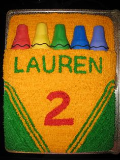 """Lauren's 2nd Birthday Crayons are ice cream cones cut in half covered in icing. Crayon box is two layers of cake, top layer cut to make room for """"crayons"""""""