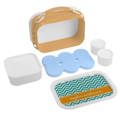 Teal and Orange Preppy Chevron Monogram Yubo Lunchboxes