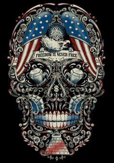 SKULLS(t-shirt designs) by Rafal Wechterowicz, via Behance Sugar Skull Tattoos, Sugar Skull Art, Sugar Skulls, Biker Tattoos, Flag Tattoos, Totenkopf Tattoos, Skull Artwork, Estilo Rock, Skull Wallpaper
