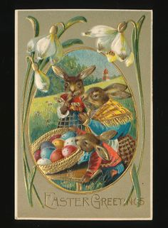 Art Nouveau Dressed Rabbits & Baby Bunny Antique Emb. Easter Postcard-kkk413